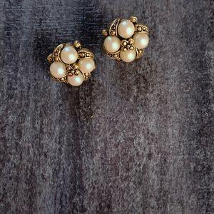 Vintage Gold & Pearl Stud Earrings